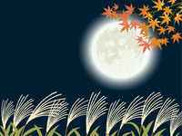 お月見 満月とすすき