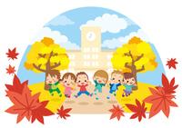 秋の日に学校の前でジャンプする元気な子供た