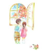 紅葉を眺める子供