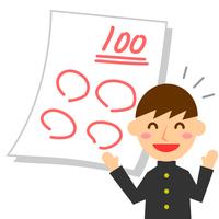 学生 テスト 100点 男子 大笑い