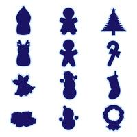 クリスマスアイテムシルエットセット(枠付き)