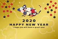 2020年子年 和風花柄ねずみの年賀状テンプレート