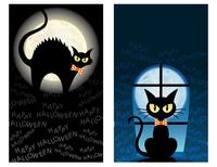 ハロウィーン 黒猫のカードセット