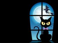 ハロウィーンのカードテンプレート 窓辺のクロネコ