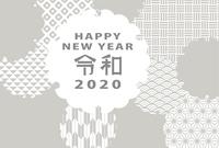 2020年子年 雪輪の和柄デザインの年賀状テンプレート