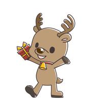 プレゼントを持った可愛いトナカイさん【手書き風】