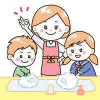 手洗いをする親子 イラスト