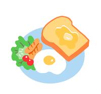 朝ごはん トーストと目玉焼き