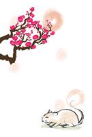 年賀状テンプレート・梅とねずみ・筆絵(縦・背景のみ)
