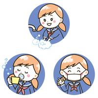 女の子の手洗い、うがい、マスク イラスト
