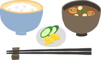 和食 日本食 ごはんと味噌汁と漬物のセット