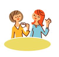 会話する女性二人