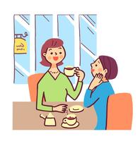 喫茶店でくつろぐ女性