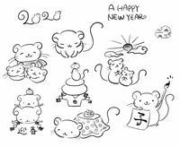 手描き ネズミ イラスト 7ポーズ セット 年賀状 素材 子年 かわいい 正月