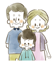 家族-祖父母と孫-水彩