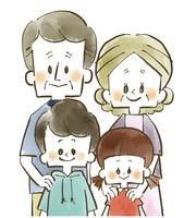 家族-孫と祖父母-水彩