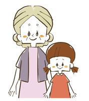 祖母と孫-笑顔