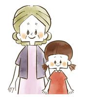 祖母と孫-笑顔-水彩