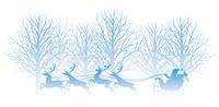 冬の森とサンタクロースのイラスト