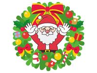 クリスマスリースとサンタクロース