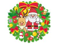 クリスマスリースとサンタクロースと赤鼻のトナカイ