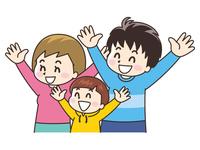 手を広げて喜ぶ親子