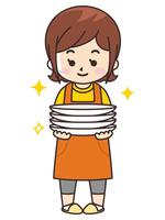 お皿を持つ主婦