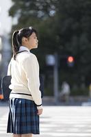 信号を待つ女子校生