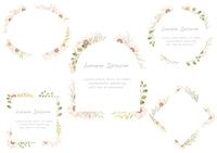 水彩風 花のフレームセット