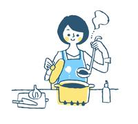 調理をする主婦