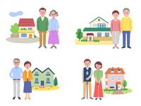 シニア夫婦と家 4組セット