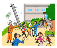 地震 避難する人々
