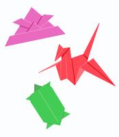 折り紙 鶴と亀とカブト