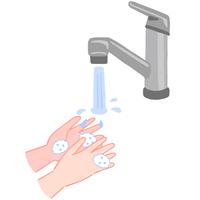 手の洗い方 泡を洗い流す