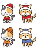 冬服を着た犬と猫