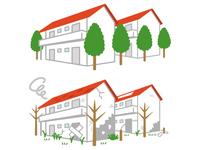 綺麗な住宅と空き家になった住宅