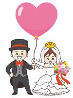 新郎新婦とハートの風船