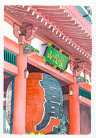 水彩画 浅草寺