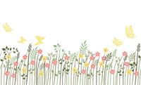 シームレスな草花の背景イラスト