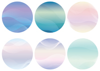 ウェーブパターンの円形背景セット