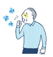 咳をする高齢男性