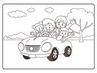 家族でドライブ ぬりえ