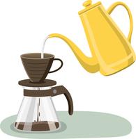 コーヒーをドリップしているイメージイラスト