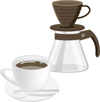 ホットコーヒーとドリッパーのイメージイラスト