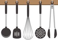 ぶら下がっているキッチン道具のイメージイラスト
