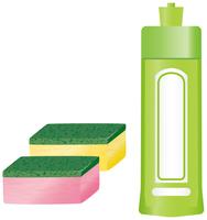 食器用洗剤とスポンジのイメージイラスト