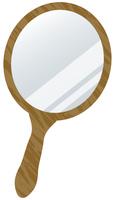 茶色い手鏡のイメージイラスト