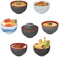 いろいろな丼物イメージイラストセット