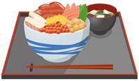 海鮮丼と味噌汁のイメージイラスト