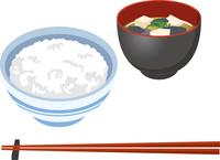 ご飯と味噌汁のイメージイラスト